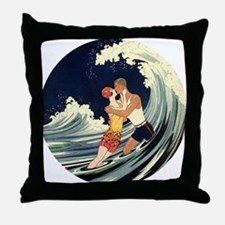 Vintage Art Deco Love in the Surf Throw Pillow