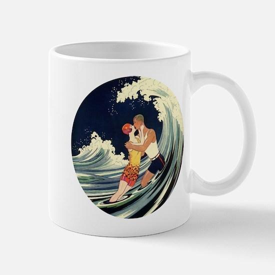 Vintage Art Deco Love in the Surf Mug