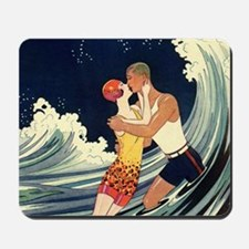 Vintage Art Deco Love in the Surf Mousepad
