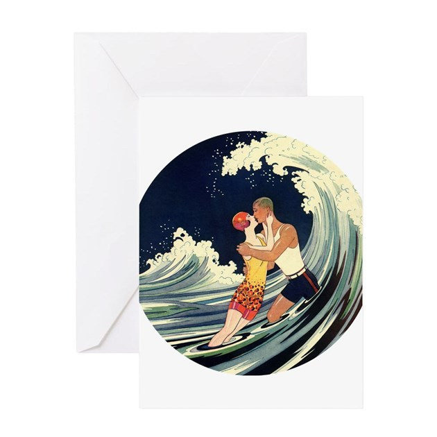 vintage art deco love in the surf greeting card by masterpiececafe. Black Bedroom Furniture Sets. Home Design Ideas