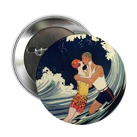 "Vintage Art Deco Love in the Surf 2.25"" Button (10"