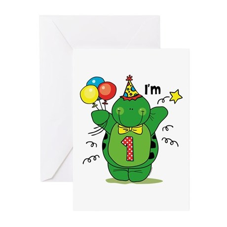 Happy Turtle 1st Birthday Greeting Cards (Pk of 20