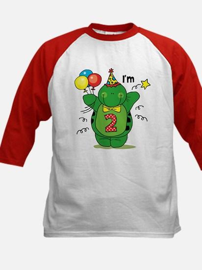 Happy Turtle 2nd Birthday Kids Baseball Jersey