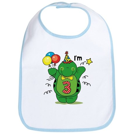 Happy Turtle 3rd Birthday Bib