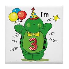 Happy Turtle 3rd Birthday Tile Coaster
