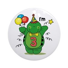 Happy Turtle 3rd Birthday Ornament (Round)