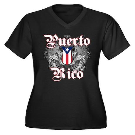 Puerto rican pride Women's Plus Size V-Neck Dark T
