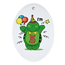 Happy Turtle 5th Birthday Ornament (Oval)