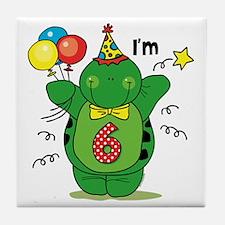 Happy Turtle 6th Birthday Tile Coaster