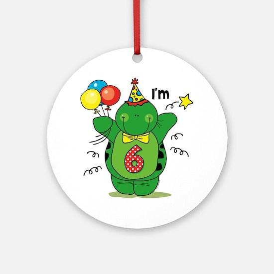 Happy Turtle 6th Birthday Ornament (Round)