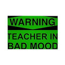 Warning Teacher Green Rectangle Magnet (10 pack)