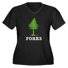 Forks WA Women's Plus Size V-Neck Dark T-Shirt