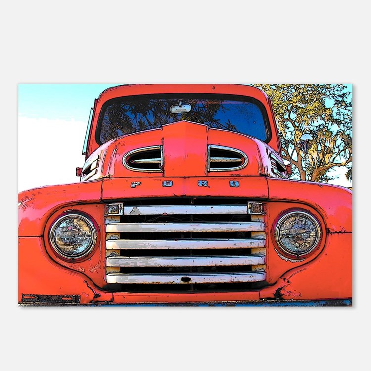 Cute Red truck Postcards (Package of 8)