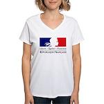 REPUBLIQUE FRANCAISE Women's V-Neck T-Shirt