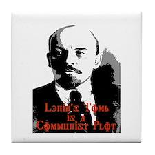 lenin's tomb is a communist p Tile Coaster
