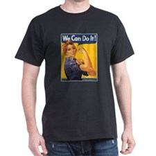 We Can Do It Poster (Front) Black T-Shirt
