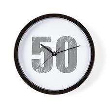 Stonewashed 50th Birthday Wall Clock