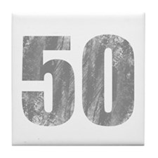 Stonewashed 50th Birthday Tile Coaster