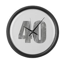 Stonewashed 40th Birthday Large Wall Clock