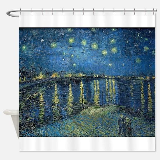Van Gogh: Starry Night Over the Rho Shower Curtain