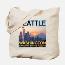 Seattle WA Skyline Graphics Sunset Tote Bag