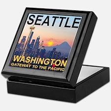Seattle WA Skyline Graphics Sunset Keepsake Box