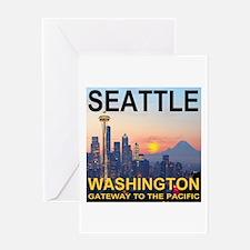 Seattle WA Skyline Graphics Sunset Greeting Card