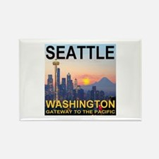 Seattle WA Skyline Graphics Sunset Rectangle Magne