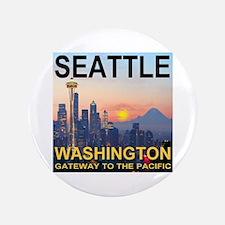 "Seattle WA Skyline Graphics Sunset 3.5"" Button"