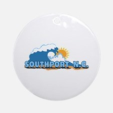 Southport NC - Waves Design Ornament (Round)