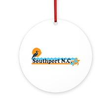 Southport NC - Beach Design Ornament (Round)