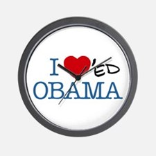 Funny I heart obama Wall Clock