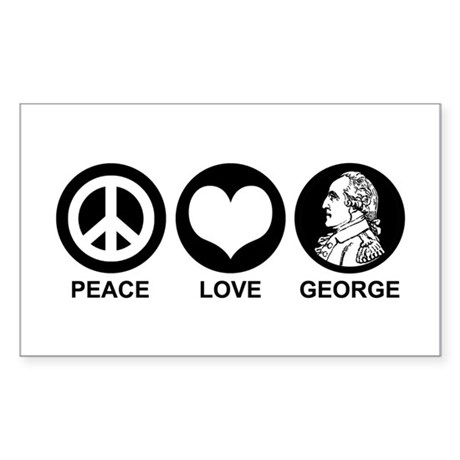Peace Love George Sticker (Rectangle)
