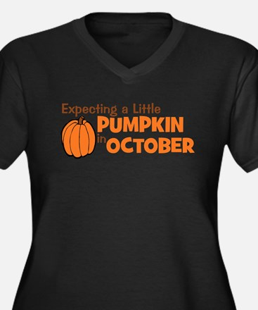 Expecting Pumpkin October Women's Plus Size V-Neck