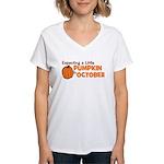 Expecting Pumpkin October Women's V-Neck T-Shirt
