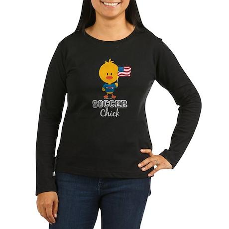 USA Soccer Chick Women's Long Sleeve Dark T-Shirt