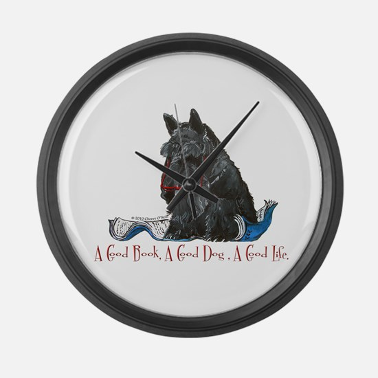 Scottish Terrier Book Large Wall Clock