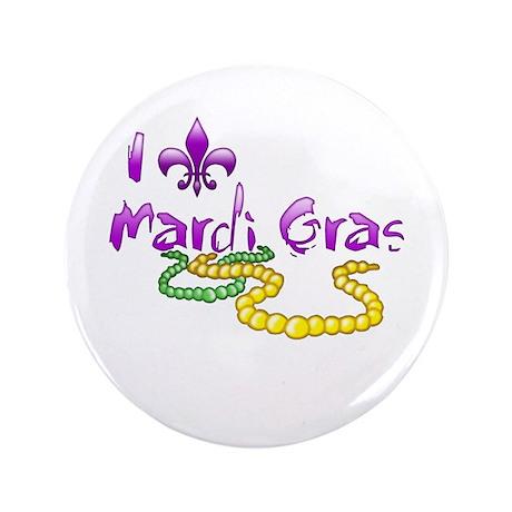 """I Fleur-de-Lis Mardi Gras 3.5"""" Button (100 pack)"""