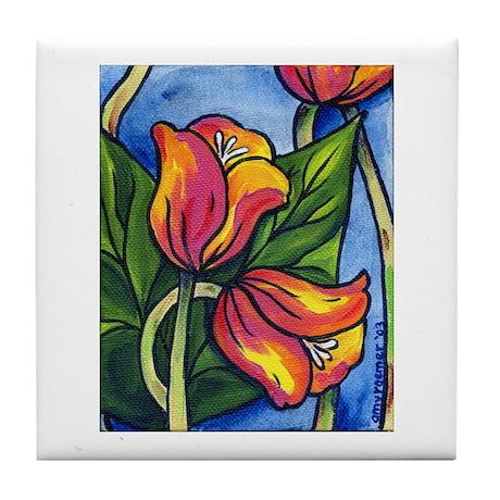 Tulips Together Tile Coaster