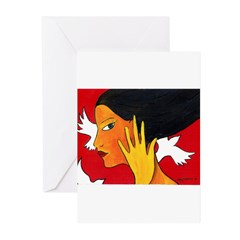 Three White Birds Greeting Cards (Pk of 10)