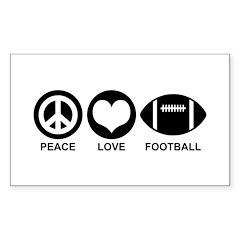 Peace Love Football Sticker (Rectangle)