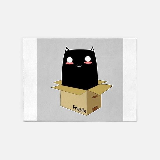 Black Cat in a Box 5'x7'Area Rug