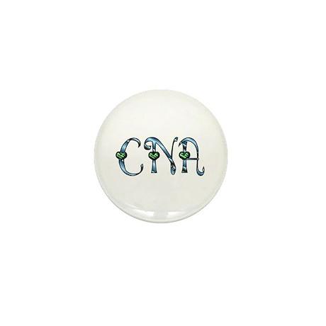 CNA Blue Silver Emerald Heart Mini Button