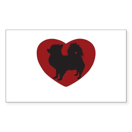 Long Haired Chihuahua Heart Sticker (Rectangle)