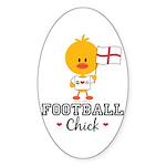English Soccer Football Chick Sticker (Oval)