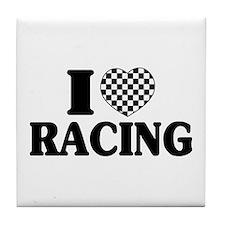 I (Checker) Heart Racing Tile Coaster