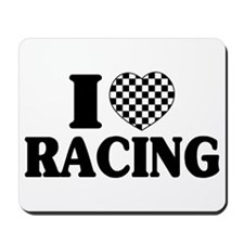 I (Checker) Heart Racing Mousepad