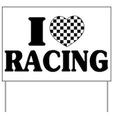 I (Checker) Heart Racing Yard Sign