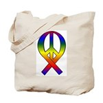 Rainbow Peace Ribbon Tote Bag