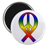 Rainbow Peace Ribbon Magnet